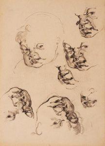 Anatomija človeške lobanje : skica